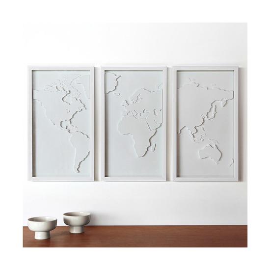Декоративное панно для стен Mapster, 3 элемента, белое