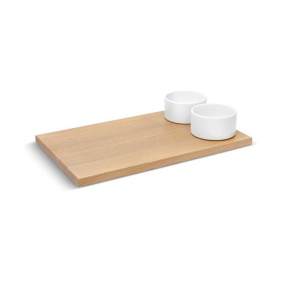 Доска для хлеба с соусницами Savore, натуральное дерево-белый