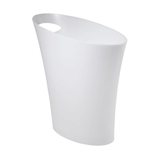 Контейнер мусорный Skinny, белый металлик