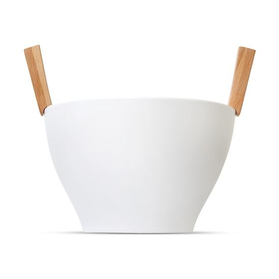 Миска для салата с приборами Savore, белый-никель