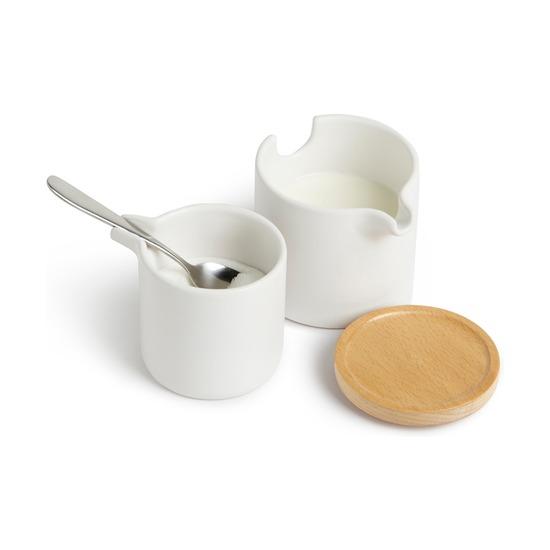 Набор для сахара и сливок Savore, натуральное дерево-белый