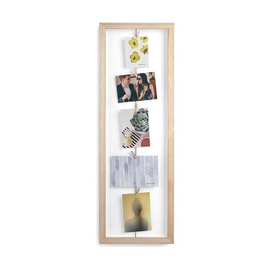 Фотопанно Clothesline с зажимами для 7 фото, натуральное дерево