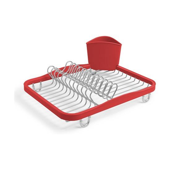 Сушилка для посуды Sinkin, красный-никель