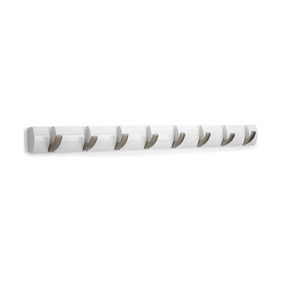Вешалка Flip настенная горизонтальная, 8 крючков, белая