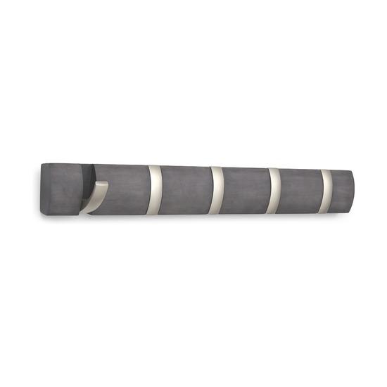 Вешалка Flip настенная горизонтальная, 5 крючков, дерево/никель