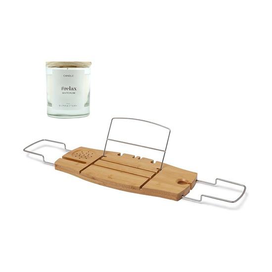 Полка для ванны Aquala, дерево + Свеча Ambientair Relax Белый Мускус, 40 ч