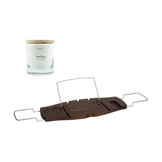 Полка для ванны Aquala, орех + Свеча Ambientair Relax Белый Мускус, 40 ч