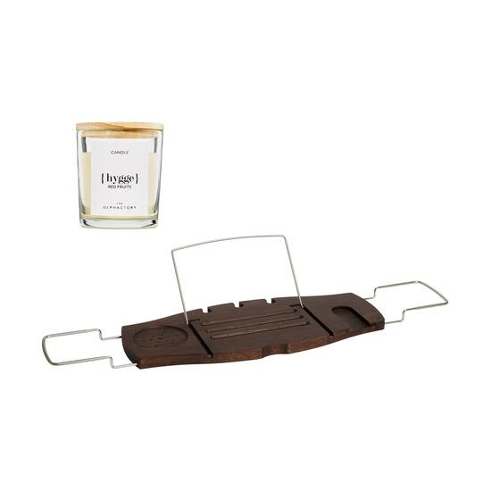 Полка для ванны Aquala, орех + Свеча Ambientair Hygge Красные Фрукты, 40 ч