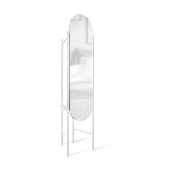 Зеркало напольное с вешалками Vala, белое
