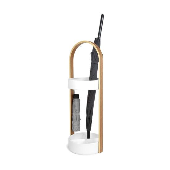 Подставка для зонтов Hub, белый-натуральное дерево