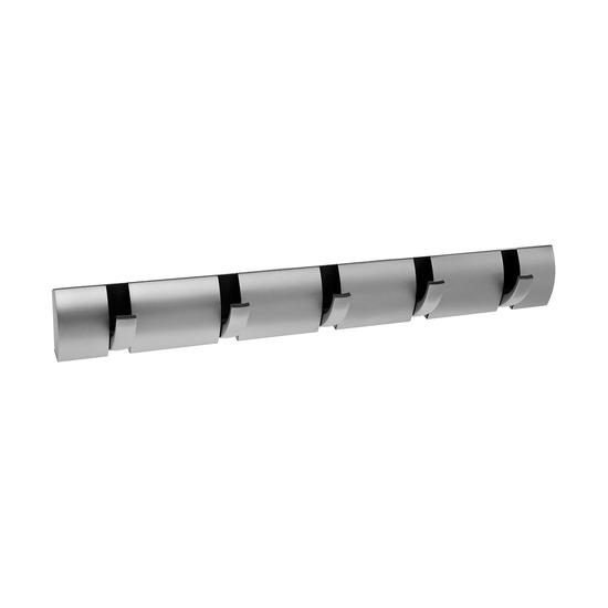 Вешалка Flip настенная горизонтальная, 5 крючков, никель