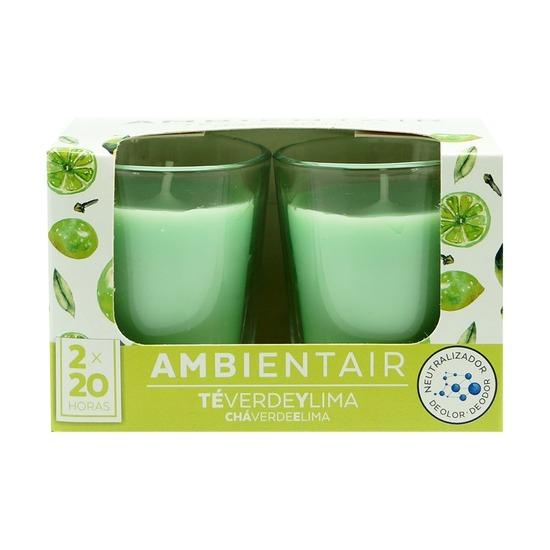 Набор из 2 ароматических свечей Ambientair Зеленый чай и лайм, 20 ч