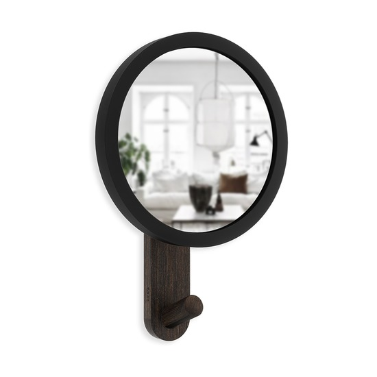Зеркало-вешалка Hub, черное/орех