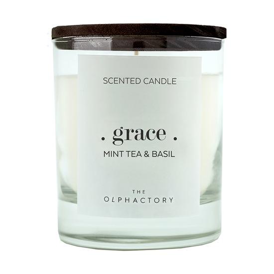 Свеча ароматическая The Olphactory Grace Black Мята и базилик, 40 ч