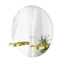Зеркало с полочками Perch, 60 см, латунь