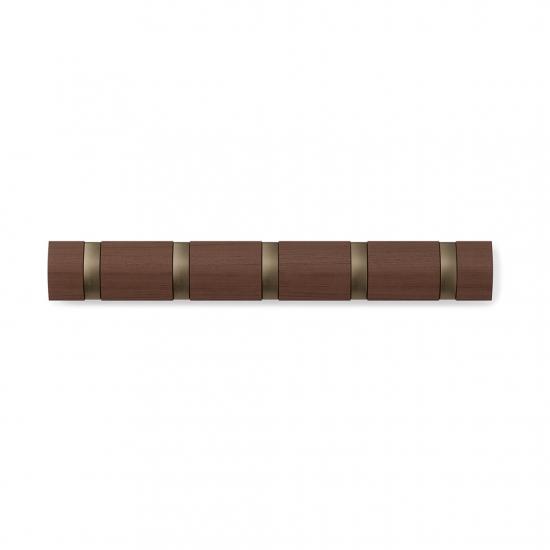 Вешалка настенная горизонтальная Flip, 5 крючков, коричневая